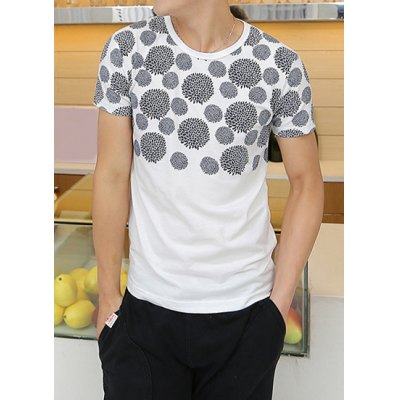Slimming Short Sleeve Round Collar Floral Print Casual Men's T-Shirt