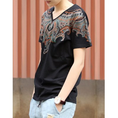 Ethnic Style Personality Art Print V-Neck Solid Color Slimming Short Sleeves Men's Cotton T-Shirt