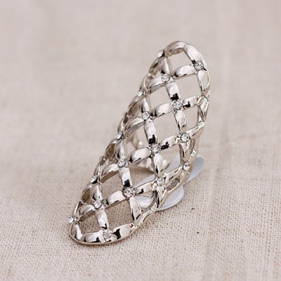 Exquisite Rhinestone Embellished Geometry Pattern Openwork Ring For Women