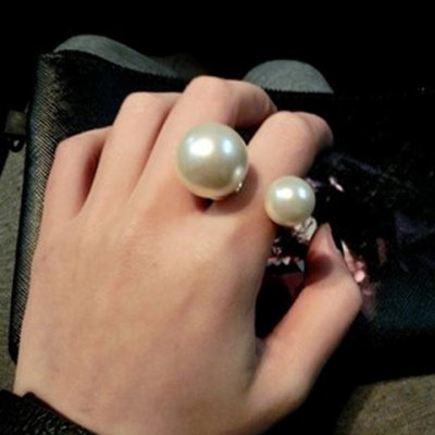 Alloy Faux Pearl Decorated Cuff Ring