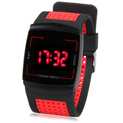Superb Touch Control Design LED Wrist Watch with Rectangle Dial and Porous Rubber Band