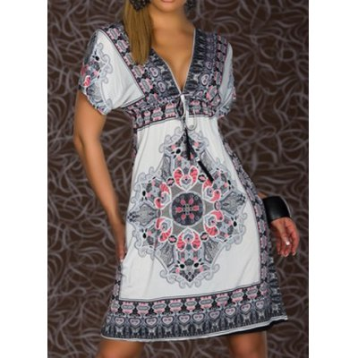 Plunging Neck Short Sleeve Printed Dress