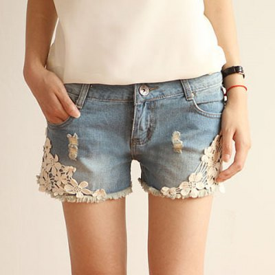 Straight Battered Floral Print Denim Women's Jeans Shorts