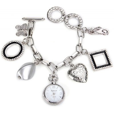 Unique Design Bracelet Watch with Heart Butterfly Chain Band for Women