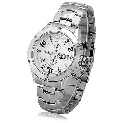 Bariho Fashion Men Wrist Watch Analog Display with Date / Day Round Dial Steel Watch Band