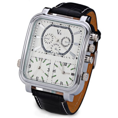 V6 Stylish Three Movt Men Watch Analog with Rectangle Dial Leather Watch Band