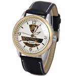 Gucamel Cool Men Automatic Mechanical Watch with Analog Round Dial Leather Watchband