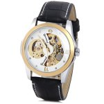 Gucamel Superb Men Automatic Mechanical Watch with Analog Round Dial Leather Watchband