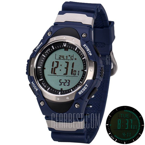 SUNROAD Superb LED Sports Digital Altimeter Watch with Barometer Compass Thermometer Date Round Dial and Rubber Band