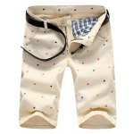 Buy Casual Style Slimming Colorful Stars Print Straight Leg Cotton Shorts Men L OFF-WHITE