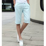 Buy Fashion Style Lace-Up Slimming Solid Color Design Straight Leg Men's Linen Shorts 3XL LAKE BLUE