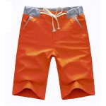 Buy Casual Style Lace-Up Slimming Solid Color Straight Leg Men's Linen Shorts L