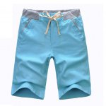 Buy Casual Style Lace-Up Slimming Solid Color Straight Leg Men's Linen Shorts L AZURE