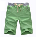 Buy Casual Style Lace-Up Slimming Solid Color Straight Leg Men's Linen Shorts XL GREEN