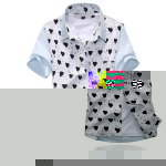 Buy Summer Style Turn-down Collar Full Love Print Splicing Short Sleeves Cotton Shirt Men S