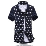 Buy Summer Style Turn-down Collar Full Love Print Splicing Short Sleeves Cotton Shirt Men 2XL