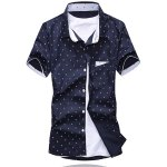 Buy Summer Style Turn-down Collar Full Anchor Print Purfled Short Sleeves Cotton Shirt Men M