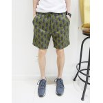 Buy Fashion Style Slimming Full leaves Print Straight Leg Cotton Shorts Men M GREEN