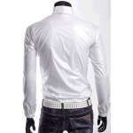 Buy Stylish Stand Collar Slimming Solid Color Zipper Design Long Sleeve Men's Polyester Sport Waterproof Sunproof Coat M WHITE