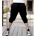 Buy Casual Style Slimming Letter Print Straight Leg Polyester Shorts Men 2XL BLACK