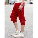 Buy Casual Style Slimming Letter Print Straight Leg Polyester Shorts Men XL WINE RED