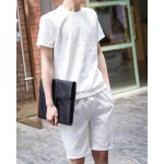 Buy Fashion Style Round Neck Personality Floral Print Slimming Short Sleeves Men's Cotton T-Shirt Suits L WHITE
