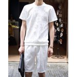 Buy Fashion Style Round Neck Personality Floral Print Slimming Short Sleeves Men's Cotton T-Shirt Suits M