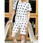 Buy Fashion Style Round Neck Slimming 3D Eyes Print Short Sleeves Men's Space Cotton T-Shirt Suits XL WHITE