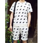 Buy Fashion Style Round Neck Slimming 3D Eyes Print Short Sleeves Men's Space Cotton T-Shirt Suits M
