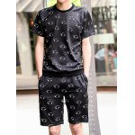 Buy Fashion Style Round Neck Slimming 3D Eyes Print Short Sleeves Men's Space Cotton T-Shirt Suits XL