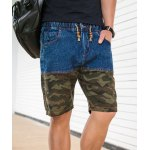 Buy Casual Style Slimming Camouflage Print Purfled Straight Leg Denim Shorts Men