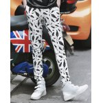 Buy Korean Style Lace-Up Design Character Plume Print Slimming Straight Leg Men's Long Pants L