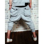 Buy Summer Style Loose-Fitting Button Embellished Straight Leg Polyester Cropped Pants Men XL LIGHT GRAY