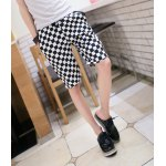 Buy Summer Style Slimming Full Plaid Print Straight Leg Polyester Shorts Men XL BLACK