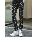 Buy Korean Style Lace-Up Design Character Plume Print Slimming Straight Leg Men's Long Pants M