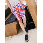 Buy Summer Style Slimming Full Flag Print Straight Leg Polyester Shorts Men M BLUE