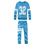 Buy Fashion Style Round Neck Number Print Stripes Splicing Full Sleeves Men's Polyester Sweatshirt Suits 2XL BLUE