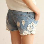 cheap Straight Battered Floral Print Denim Women's Jeans Shorts