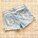 best Straight Battered Floral Print Denim Women's Jeans Shorts