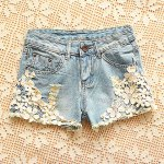 Straight Battered Floral Print Denim Women's Jeans Shorts for sale