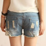 Straight Battered Floral Print Denim Women's Jeans Shorts deal