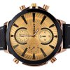 best Stylish Men Wrist Watch Analog Display with Big Round Dial Leather Watch Band