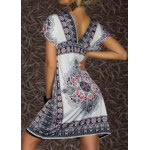cheap Bohemian Plunging Neck Short Sleeve Printed Women's Dress
