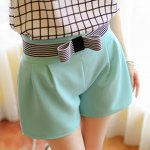 cheap Elegant Bowknot Embellished Solid Color High-Waisted Shorts For Women