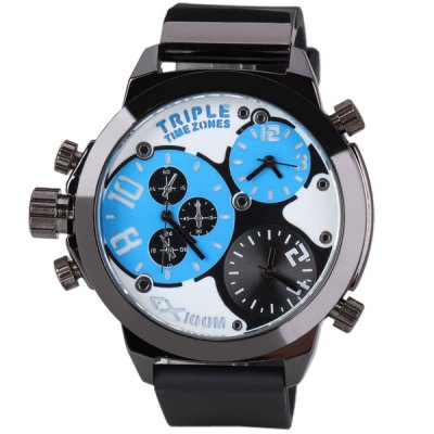 Popular Triple Movt Men Watch Analog with Round Dial Rubber Watch Band