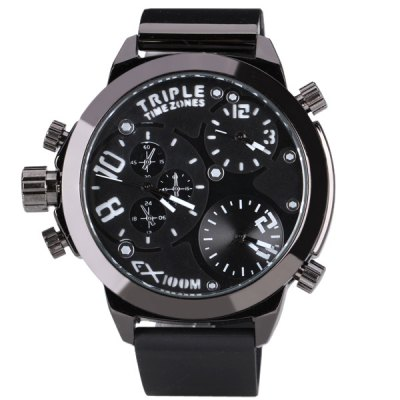 Гаджет   Popular Triple Movt Men Watch Analog with Round Dial Rubber Watch Band Men