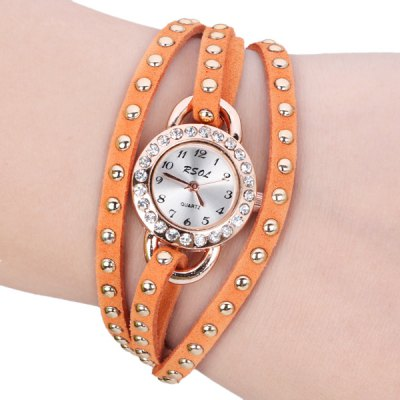 Stylish Design Bracelet Watch with Diamonds Leather and Chain Band for Women