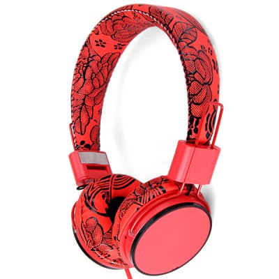 Yongle EP05B Flower Love Music Red Headphones Full Leather Headband Headset with Microphone for Smartphone / MP3 / MP4 / Tablet PC / Music Players