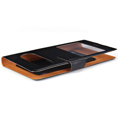 PU Leather Case with Creative View Window Function for 4.0 inch Phone