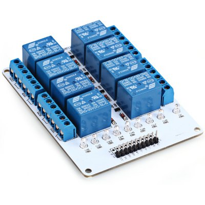 8 - Channel 5V Relay Module Expansion Board for Arduino Works with Official Arduino BoardsBoards &amp; Shields<br>8 - Channel 5V Relay Module Expansion Board for Arduino Works with Official Arduino Boards<br><br>Type: Relay module board<br>Material: FR4 and Glass Fiber Plate<br>Compatibility: Ardunio<br>Product Weight: 0.12 kg<br>Product Size(L x W x H): 9.9 x 7.3 x 1.9 cm / 3.9 x 2.9 x 0.7 inches<br>Package Contents: 1 x Relay Module Extension Board